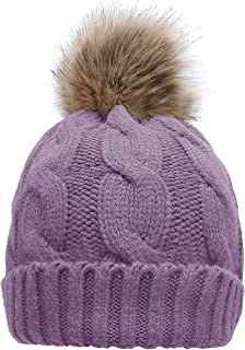 NEOSAN Women's Winter Ribbed Knit Faux Fur Pompoms Chunky Lined Beanie Hats