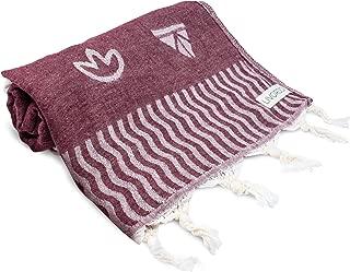 Livordo Turkish Beach Towel Soft, Absorbent 100% Cotton Made in Turkey Quick Dry Lightweight Bath Sheet, Sarong, Pareo, Wrap, Pestemal, Scarf, Spa, Yoga, Gym, Hiking, Camping (Izmirror-Burgundy)