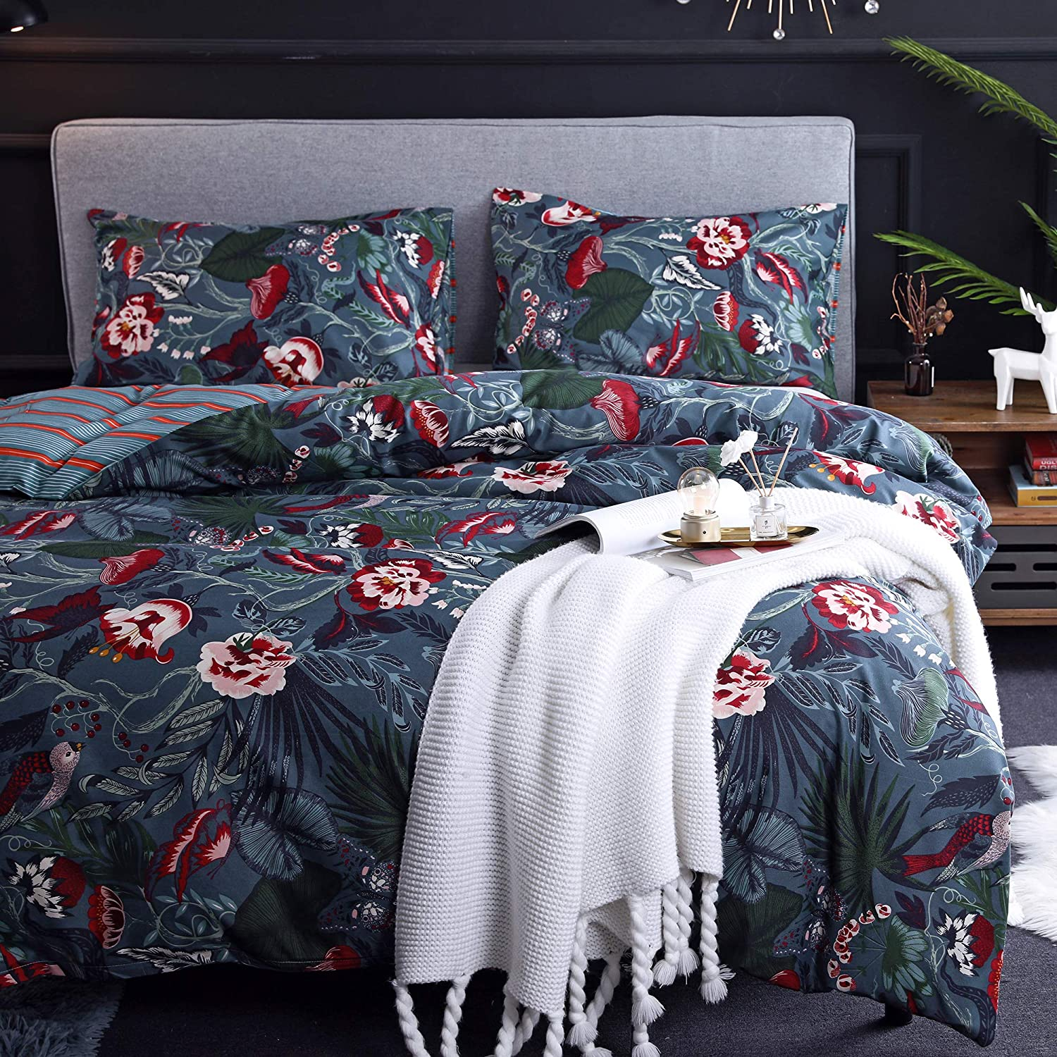 NOKOLULU Flower and Leaves with Print Directly managed store Set Bird Max 88% OFF Duvet Cover