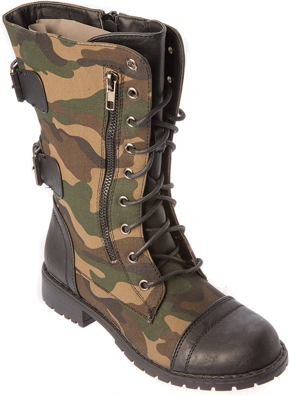 Nature Breeze lug12BlackGreen Womans Western Boots Modern Combat Fashion Moto Studded shoes