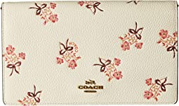 Floral Bow Fold-Over Crossbody Clutch