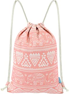 Drawstring Backpack Elephant String Bag Geometric Gym Sackpack Canvas Sinch Sack Sport Cinch Bag Yoga Daypack Beach Christmas Gift Bag For Men & Women 13 X 18 Inches Coral Pink