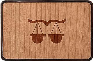 Libra Stainless Steel Belt Buckle With Cherry Wood Veneer- Laser Engraved Wood Belt Buckle - Big Belt Buckle