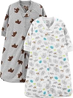 Simple Joys by Carter's Baby 2-Pack Microfleece Long-Sleeve Sleepbag, Grey Heather, Animal/Bear, 3-6 Months