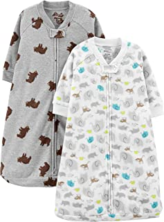 Simple Joys by Carter's Baby 2-Pack Microfleece Long-Sleeve Sleepbag, Animals/Heather Grey Bear, 6-9 Months
