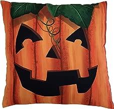 GiftWrap Etc. Jack-O-Lantern Face Halloween Pillow Case - 18 x 18, Orange Smiling Pumpkin, Halloween Decorative Pillowcase, Classroom Decorations, Home Decor