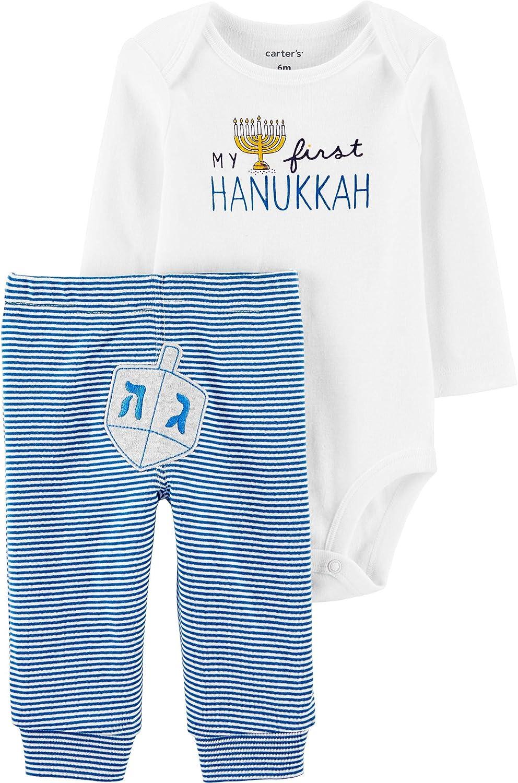 Happy Hanukkah Cotton White L//S Bodysuit Blue Candle Girls Baby Dress Set NB-18M