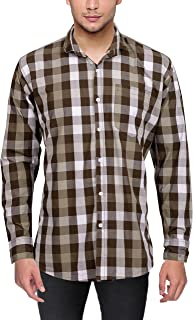 Danbro Men's Casual Shirt (MSC-1028-M, Grey and Brown, Medium)