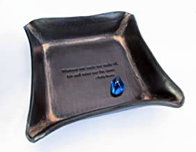 Twin Saints Third Anniversary Leather Valet Tray. Emily Bronte Quote.