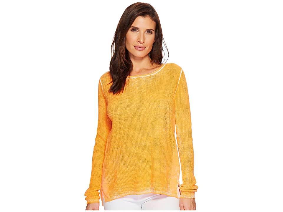 Elliott Lauren Thermal Stitch Stone Wash Sweater (Orange) Women
