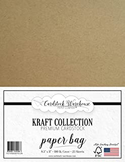 Paper Bag Kraft Cardstock - 8.5 X 11 inch - Premium 100 LB. Cover - 25 Sheets from Cardstock Warehouse