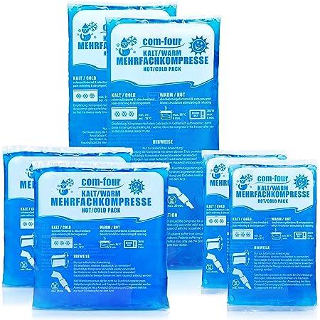 com-four® L'ensemble des blocs réfrigérants en 3 tailles différentes - Utilisable au micro-onde (2x petit, 2x moyen, 2x grand)