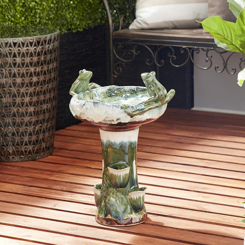 毎日続々入荷 Deco 79 81999 Eclectic Multi-Colored Themed Ceramic 販売 Bird Ba Frog