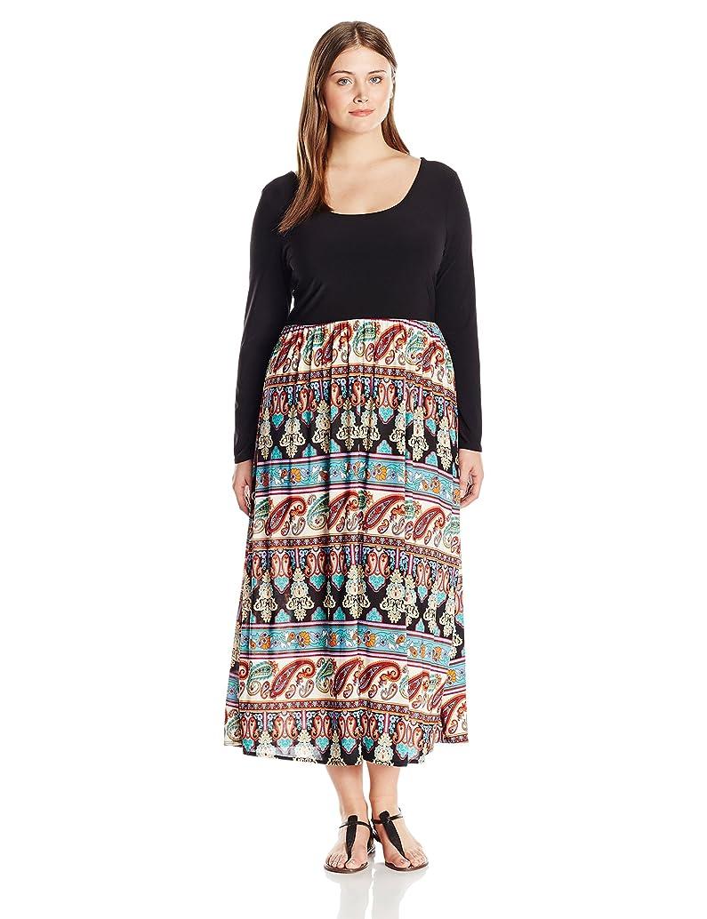 Star Vixen Women's Plus Size Long Sleeve Stretch Ity Knit Graceful Ballet Top Skater Silhouette Print Skirt Maxidress