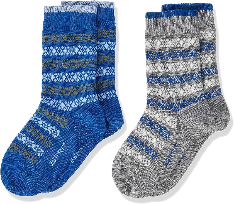 ESPRIT Socken Geo Pattern 2-Pack Baumwolle Kinder grau blau viele weitere Farben verst/ärkte Kindersocken mit Muster atmungsaktiv bunt mit Streifen im Multipack 2 Paar