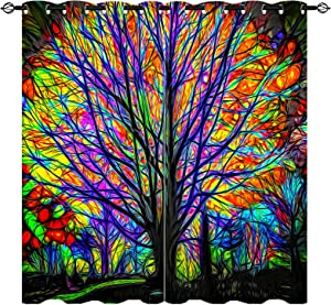 ANHOPE Colorful Tree Curtains Psychedelic Watercolor Art Theme Window Drapes with Creative Trees Print Pattern Grommet Home Decor Curtains for Bedroom Living Room Office Cofe, 2 Panels, 42 x 63 Inch