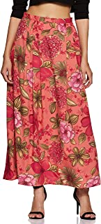 Styleville.in Women's A-Line Maxi Skirt (SSKF350326_Orange_Large)
