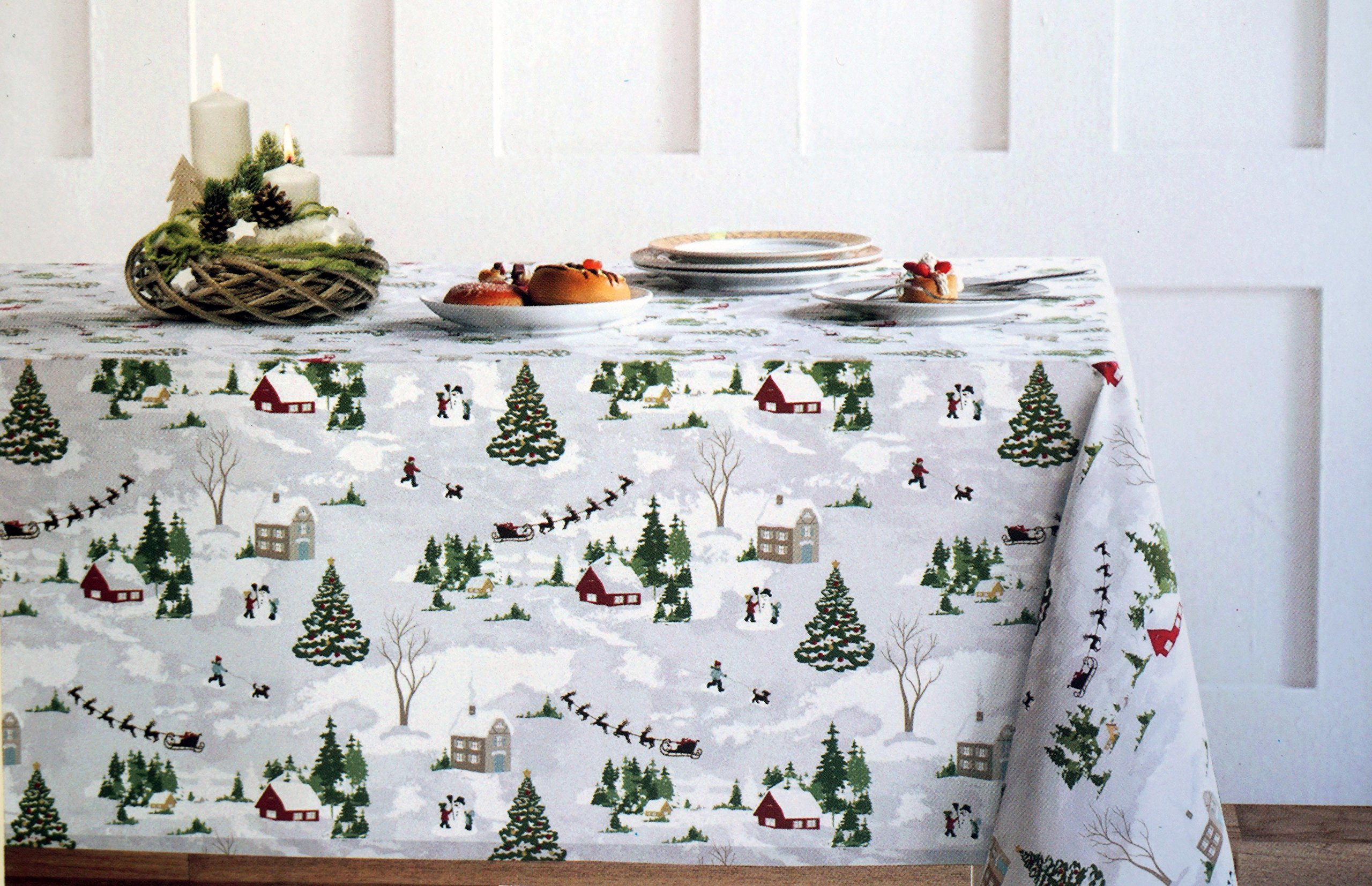 Cynthia Rowley Cotton Fabric Holiday Tablecloth Rustic Country Christmas Scene Barns Farms Reindeer Santa Sleigh Snow Men Christmas Trees - 60 Inches by 120 Inches