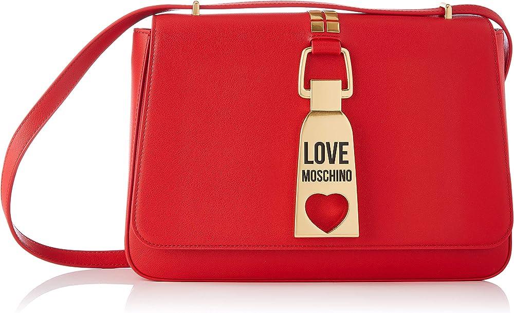 Love moschino precollezione ss21, borsa a spalla da donna, in ecopelle, con inserti metallici frontali, rossa JC4091PP1CLN0500U
