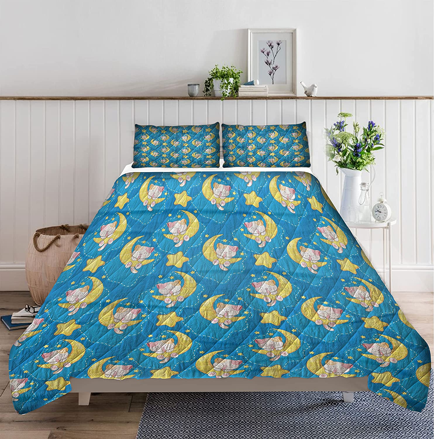 GANTEE Cute Cat Sleep with Moon Soft Max 41% OFF Quilt Microf Cheap mail order sales Set Bedding 1