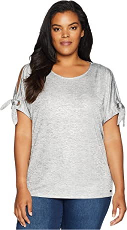 Plus Size Short Sleeve Tee w/ Tie Sleeves