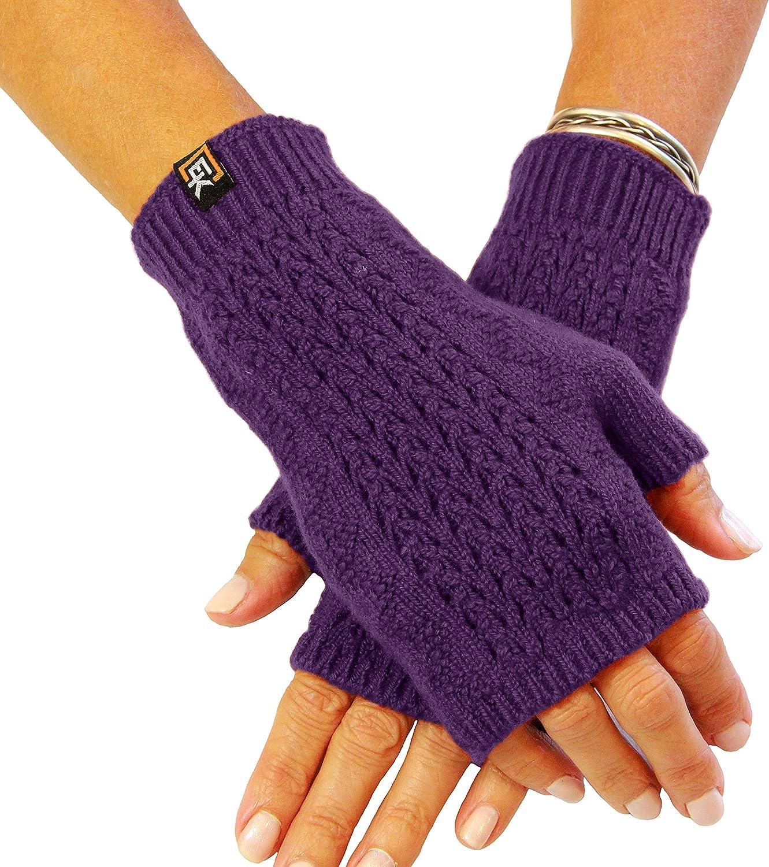 Mesh Knit Fingerless Mittens, Superfine Baby Alpaca, Women's