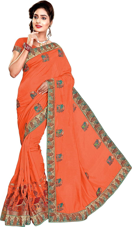 Nivah Fashion Women's Satin HeavyEmbroidery work saree With Blouse piece K584