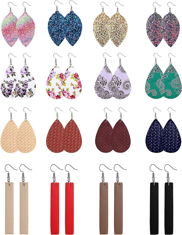 Jstyle 16Pairs Teardrop Leather Earrings for Women Lightweight Glitter Leaf Bar Leopard Dangle Drop Earrings Faux Leather Earring Set