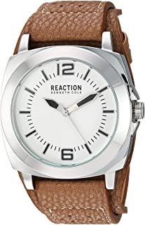 Kenneth Cole REACTION ' Street' Quartz Metal and Polyurethane Casual Watch, Color:Brown (Model: RK1330)
