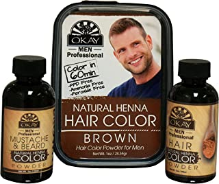 Okay Men's Henna Hair Color, Brown, 2 Ounce