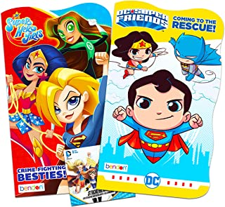 DC Comics Super Friends and Super Hero Girls Board Books for Toddlers ~ 2 Pack Superhero Books with Bonus Super Hero Girls Stickers