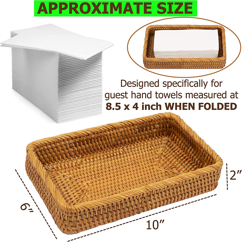 10.2 x 6 x 2 inches, Honey Brown Bathroom Vanity Tray Rattan Guest Towel Napkin Holder Wicker Paper Hand Towels Storage Dispenser Napkin Caddy for Toilet Tank Kitchen Bath Decorative Trays KOLSTRAW