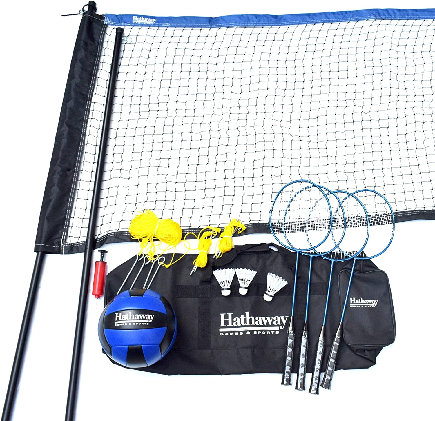 397a2b99c6 Hathaway Volleyball Complete Combo Set BG3141, White, Net 32' x 3'; 1.5  diam Steel Poles Badminton nwutec3074-Sporting goods
