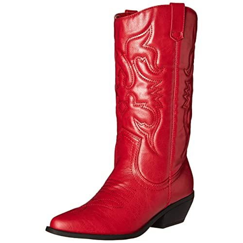 9f3e0df2bc8 Soda Women s Red Reno Western Cowboy Pointed Toe Knee High Pull On Tabs  Boots