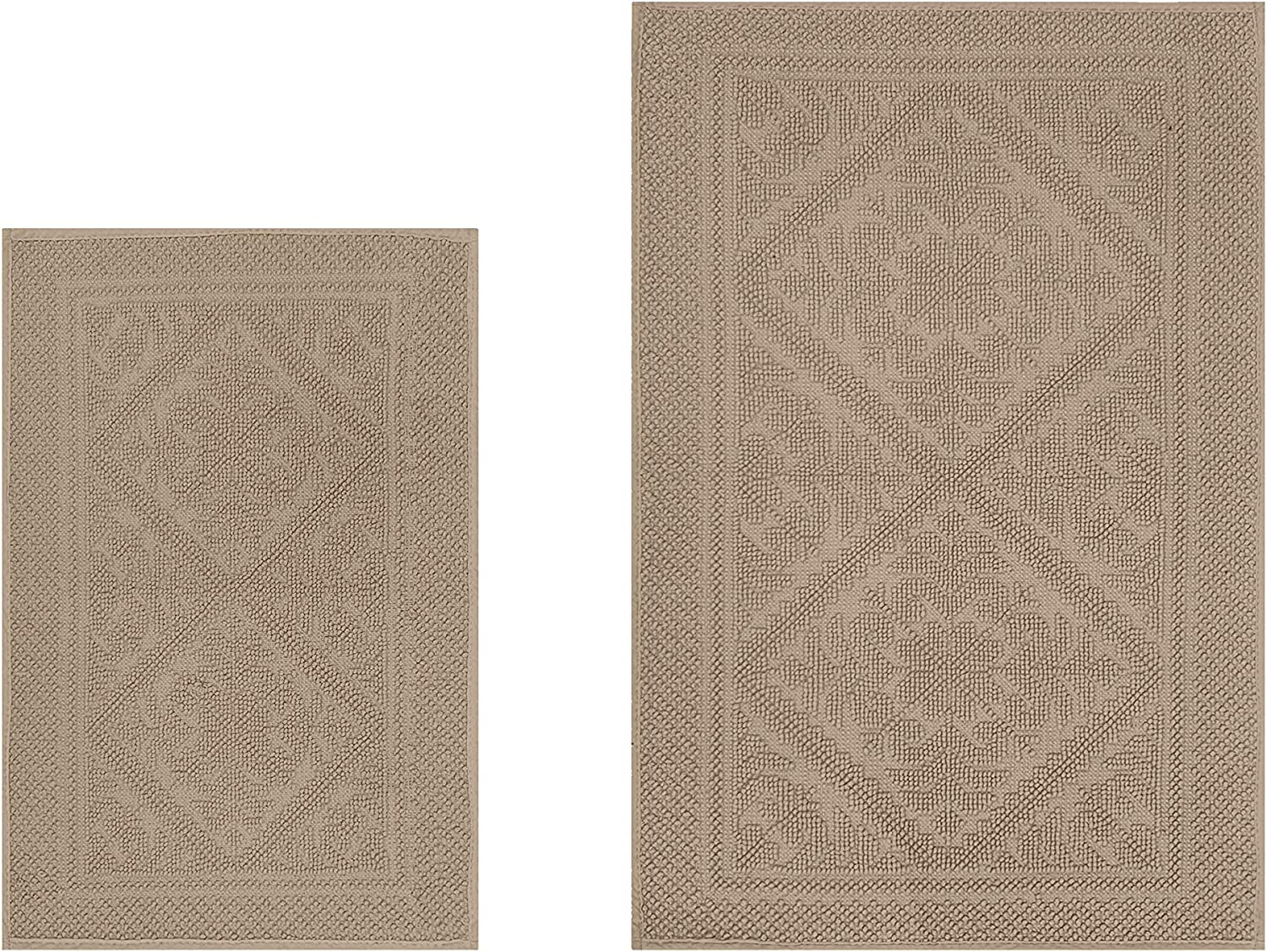 Better Trends Jaquard Collection Is Ultra Soft Plush And Absorbent Tufted Bath Mat Rug Grey 100 Cotton In Vibrant Colors 2 Piece Set Beige Home Kitchen Amazon Com