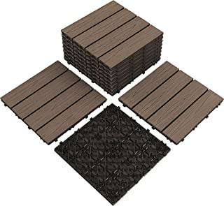 "Pandahome 11 PCS Patio Pavers Tiles 12""x12"", Four Slat Wood Plastic Composite Interlocking Floor Tiles, Water Resistant Flooring Decking Tiles Indoor Outdoor, 11 sq. ft - Coffee Wood"
