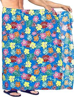 "LA LEELA Hawaiano Pareo Pareo de Playa Toalla de baño de los Hombres Hibisco Floral Envoltura Ocasional Impresa 78""X42"" Az..."