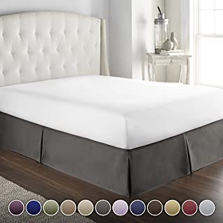 Hotel Luxury Bed Skirt/Dust Ruffle 1800 Platinum Collection-/14 inch Drop/Wrinkle & Fade Resistant, Top Quality Linens! (Queen, Gray)