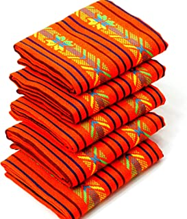 Mexican Fabric, Aztec Fabric, Tribal Fabric by The Yard, Orange with Tribal Details,