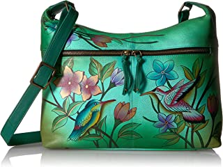 Women's Genuine Leather Shoulder Bag | Hand Painted Original Artwork | Small Zip-Top Organizer