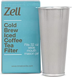 Cold Brew Coffee Maker, Iced Coffee & Tea Maker Infuser for Mason Jars | Durable Fine Mesh Stainless Steel Coffee Maker Filter (Stainless Steel - Tapered, For 32 oz Wide Mouth Mason Jars)
