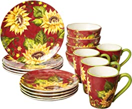 Certified International Sunset Sunflower 16 pc Dinnerware Set, Service for 4,One Size, Multicolored