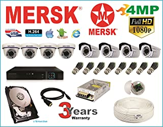 Mersk Exclusive 8 Ch Dvr and Mersk Full HD (4MP) CCTV Camera Kit with All Required Accessories (2 TB Hard Disk) Note : No ...