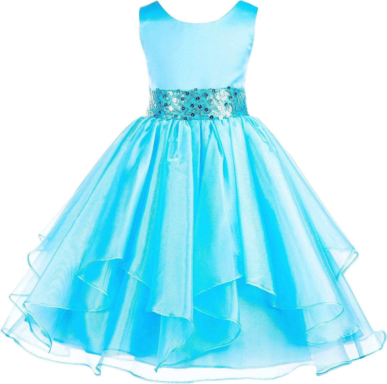 ekidsbridal Asymmetric Ruffled Organza Sequin Flower Girl Dress Princess Dresses 012S 2 Turquoise