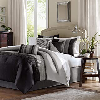 Madison Park Amherst 7 Piece Comforter Set Color: Black/Grey, Size: Queen