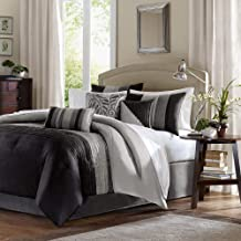 Madison Park Amherst Cal King Size Bed Comforter Set Bed in A Bag - Black, Grey, Pieced Stripes - 7 Pieces Bedding Sets - Ultra Soft Microfiber Bedroom Comforters