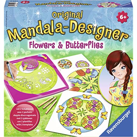 Ravensburger – Mandala – Midi – Flowers & Butterflies – Loisir créatif – Dessin – Enfant dès 6 ans – 29809