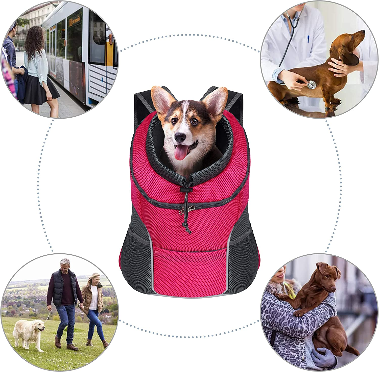 YUDODO Dog Carrier Backpack Pet Cat Backpack Carrier with Breathable Mesh Head Out Front Pack for Travel Hiking Outdoor