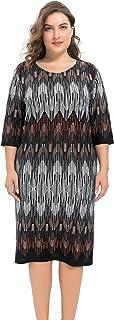 فستان شيك للنساء مقاس كبير من الكشمير المطبوع قابل للتمدد مع لمسة التحول - طول الركبة كاجوال وفستان عمل