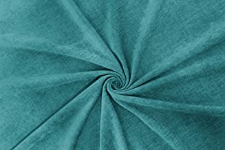 Encasa Homes Chenille Textured Fabric Decorative Soft Rich Cloth with Plain Colours for Sofa, Furnishing, Upholstery, Curtains, Cushions and Craft (Turq, 39 x 55 inch/100 x 140 cm - 1 Meter)